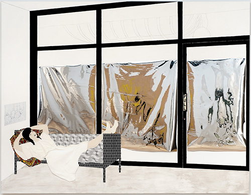 """Frances Stark, Pull After """"Push,"""" 2010. Mixed media on canvas on panel. 69 x 89 in. (175.3 x 226.1 cm). Collection Nancy and Joachim Bechtle. Image courtesy of greengrassi, London, photo by Robert Wedemeyer."""