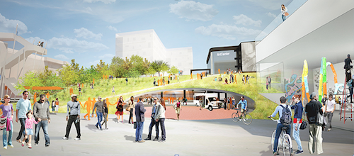 ArtCenter's vision for a South Campus student housing village, mobility hub, public gallery and park-like quad. (Image credit: Michael Maltzan Architecture / Tina Chee Landscape Studio)