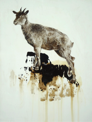 James Griffith, ASCENT – Mountain Goat, 2013, tar on panel, 12 x 9