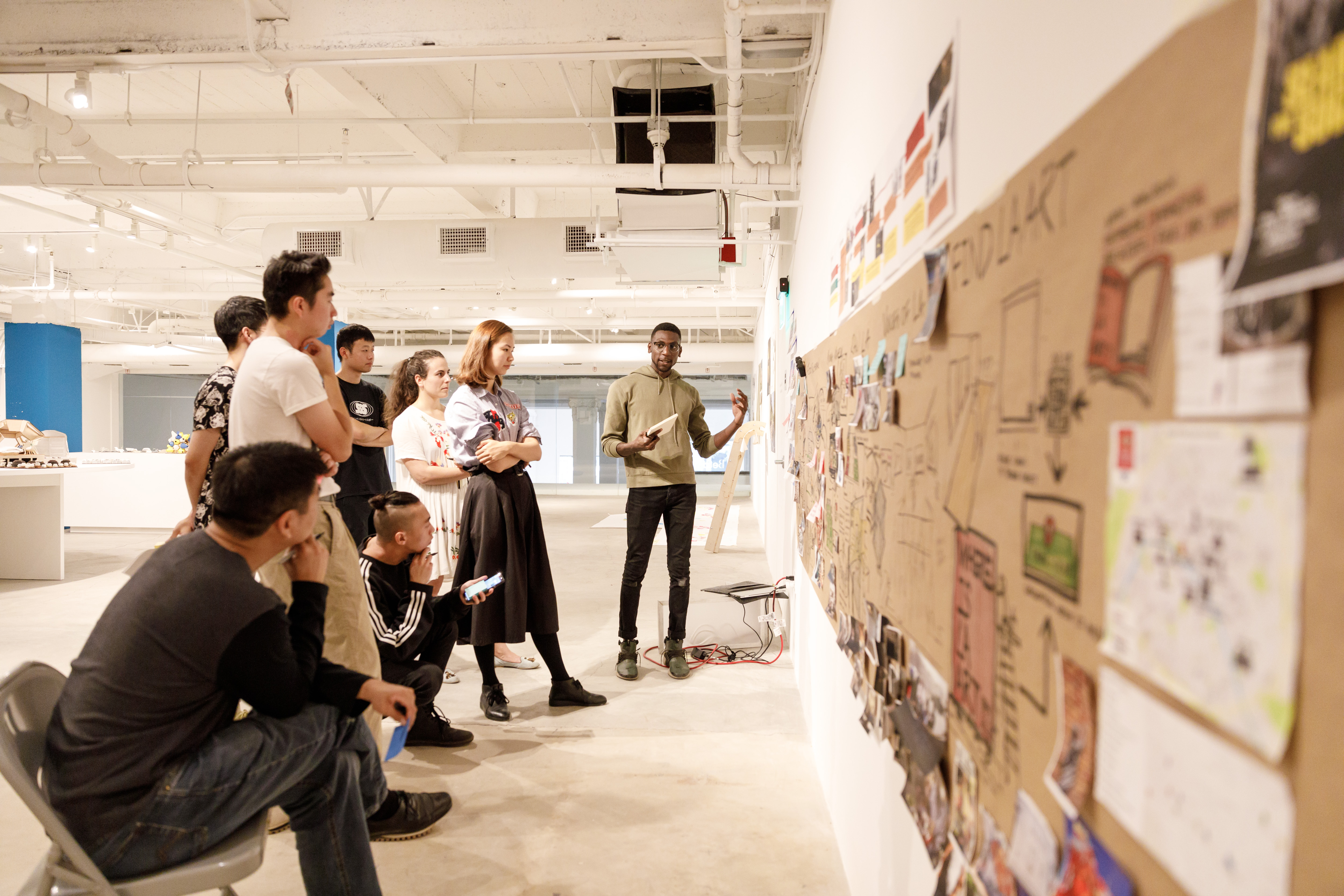 A presentation during Jeff Higashi's Design for Health and Wellbeing class held at ArtCenter DTLA. Photo by Juan Posada.