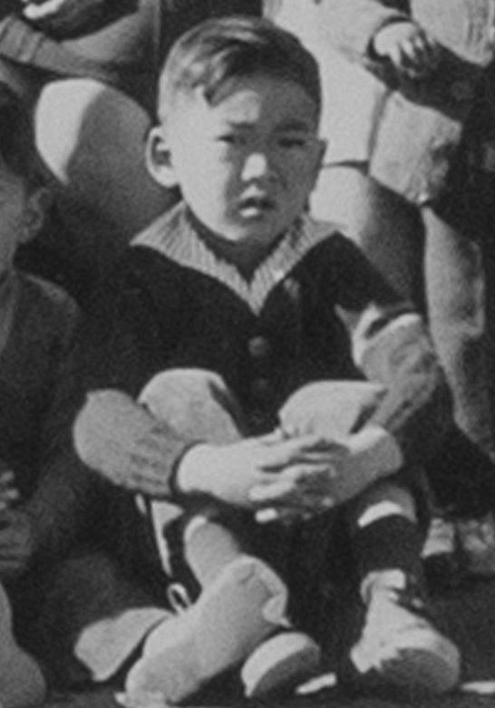 Young Matsumoto at Manzanar War Relocation Center. Detail from group photo above. Photo courtesy Bob Matsumoto